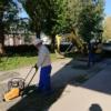 路面砕石舗装補修作業